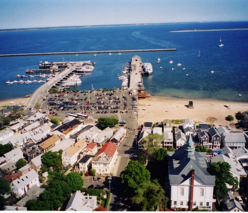 The view of Provincetown from the top of the Pilgrim's Monument