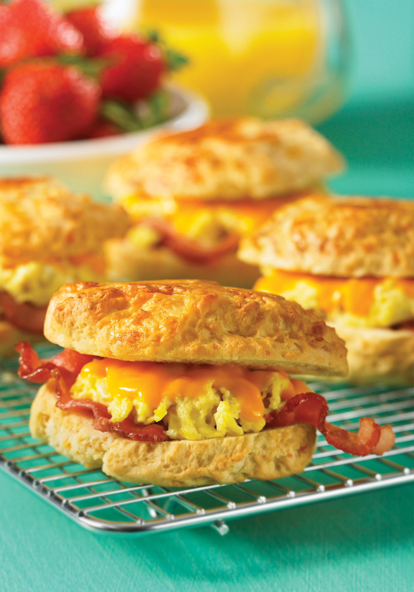 Grilled cheese, egg and bacon biscuit