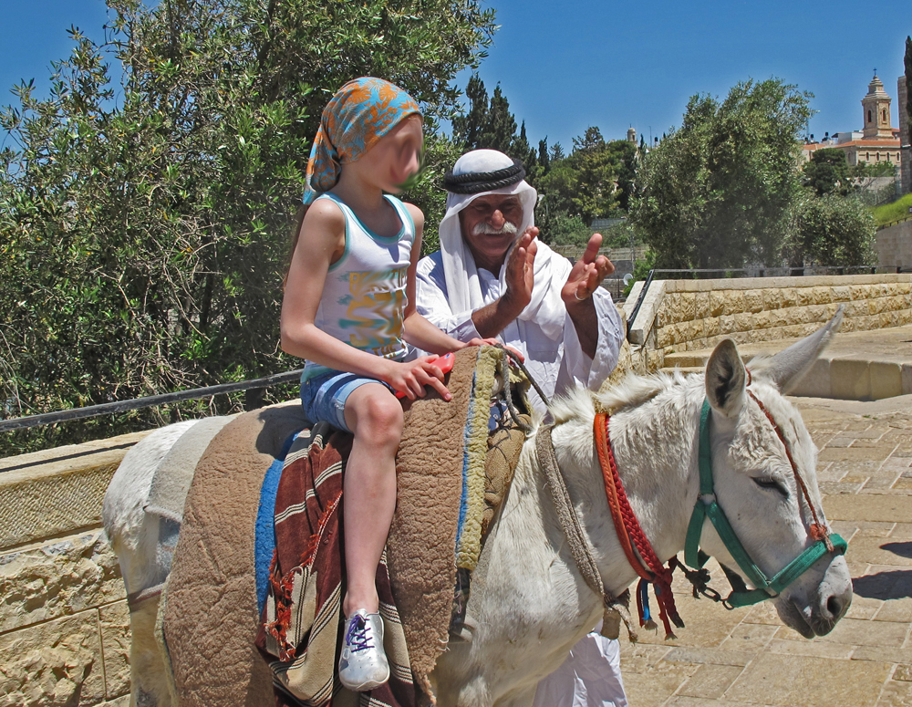 Child atop donkey with Arab man - City of Peace