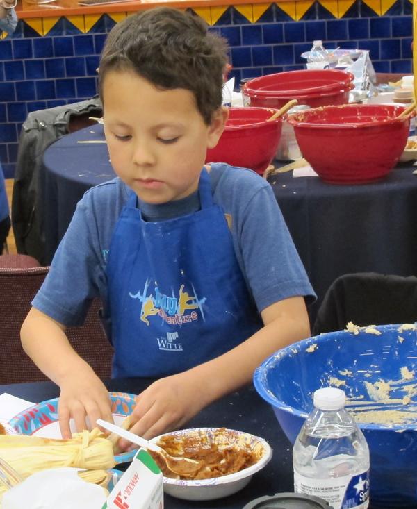 Troy folding tamales s