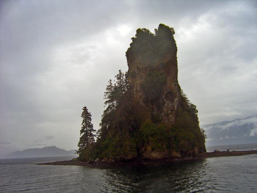 Island from the water Alaska