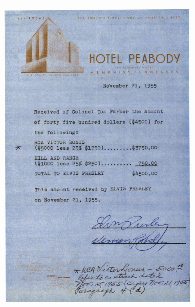 Contract signed by Elvis on Peabody paper - Life is Ducky at the Peabody