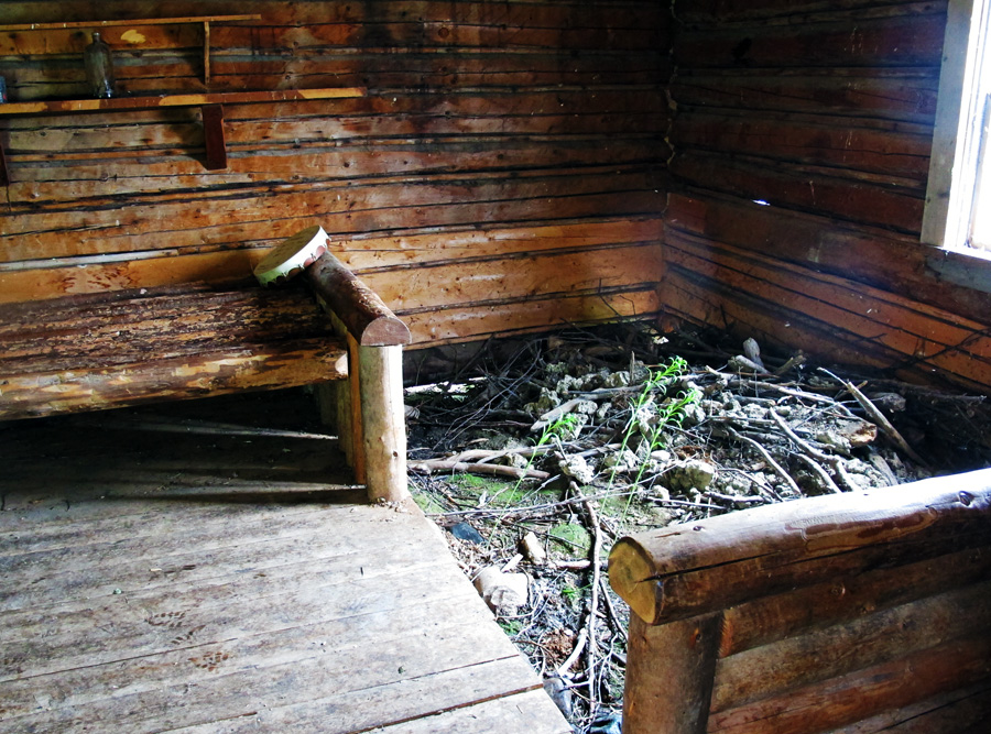 interior of Grey Owl's cabin with beaver dam In search of a Legend - Grey Owl