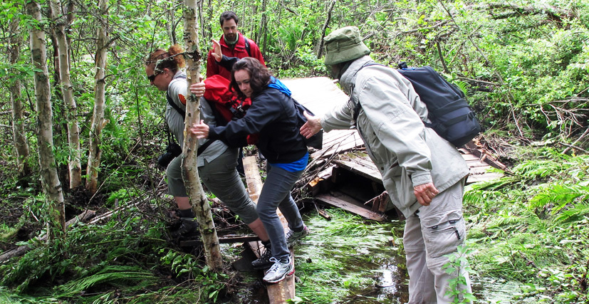 people trying to cross a broken part of boardwalk In search of a Legend - Grey Owl