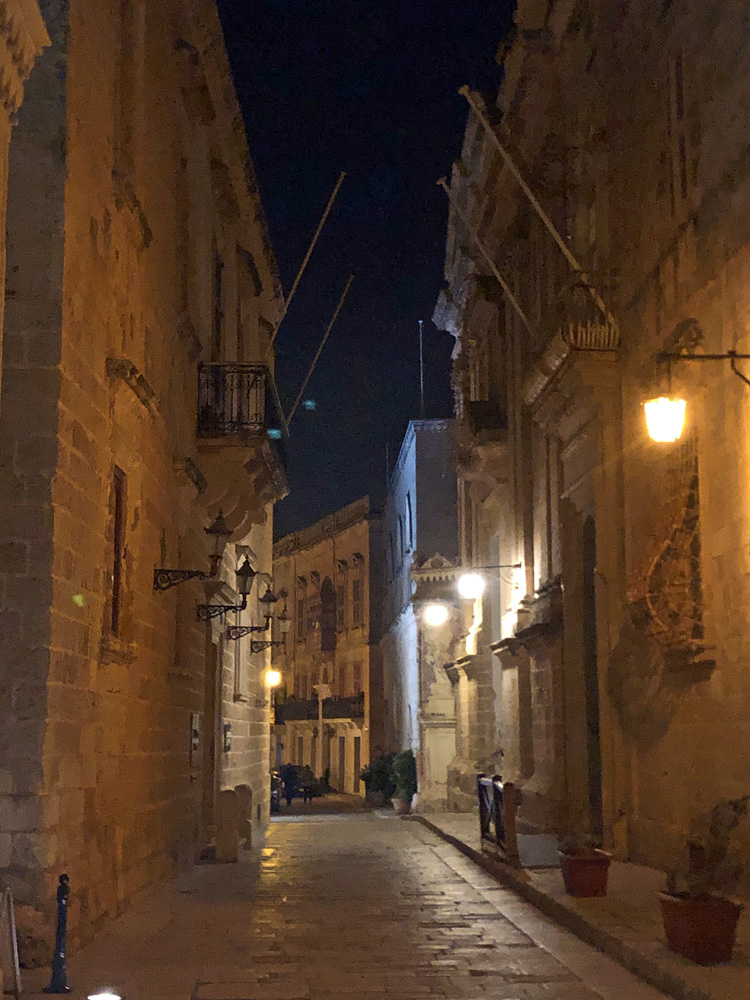 Lantern lit narrow street in Mdina