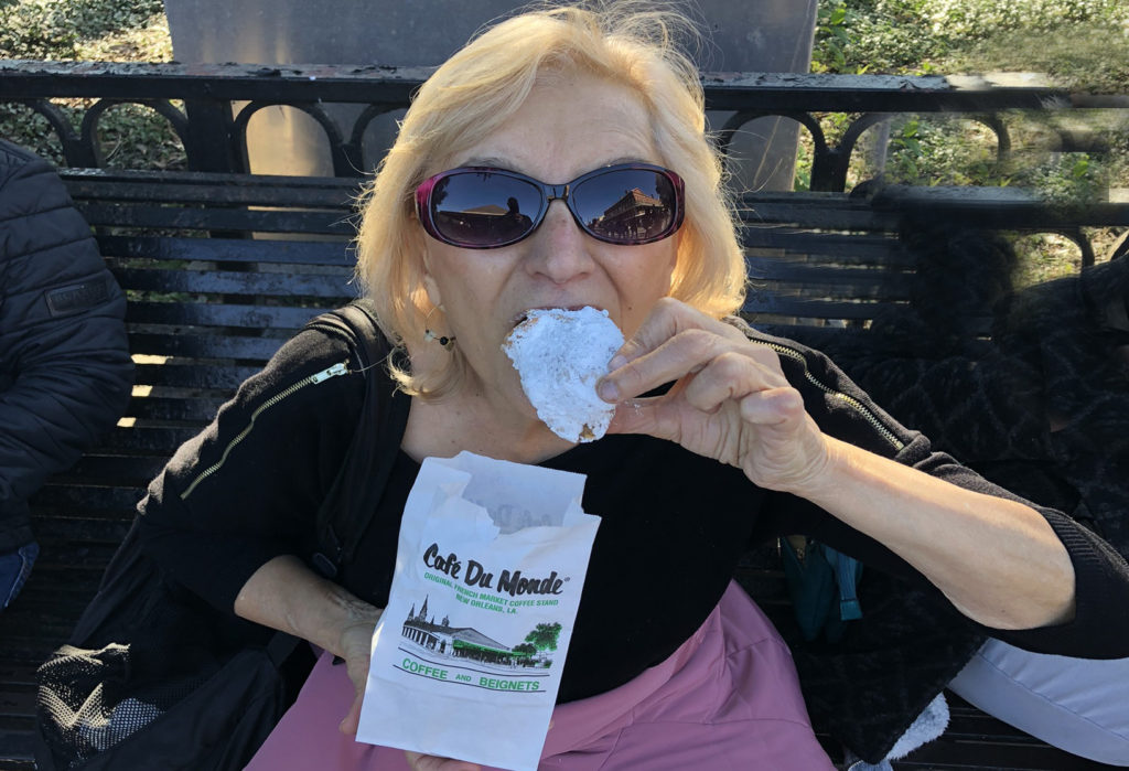 Me eatingMe eating a sugar-covered  beignet from Cafe du Monde