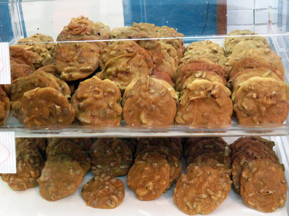 rows of pralines lining two shelves