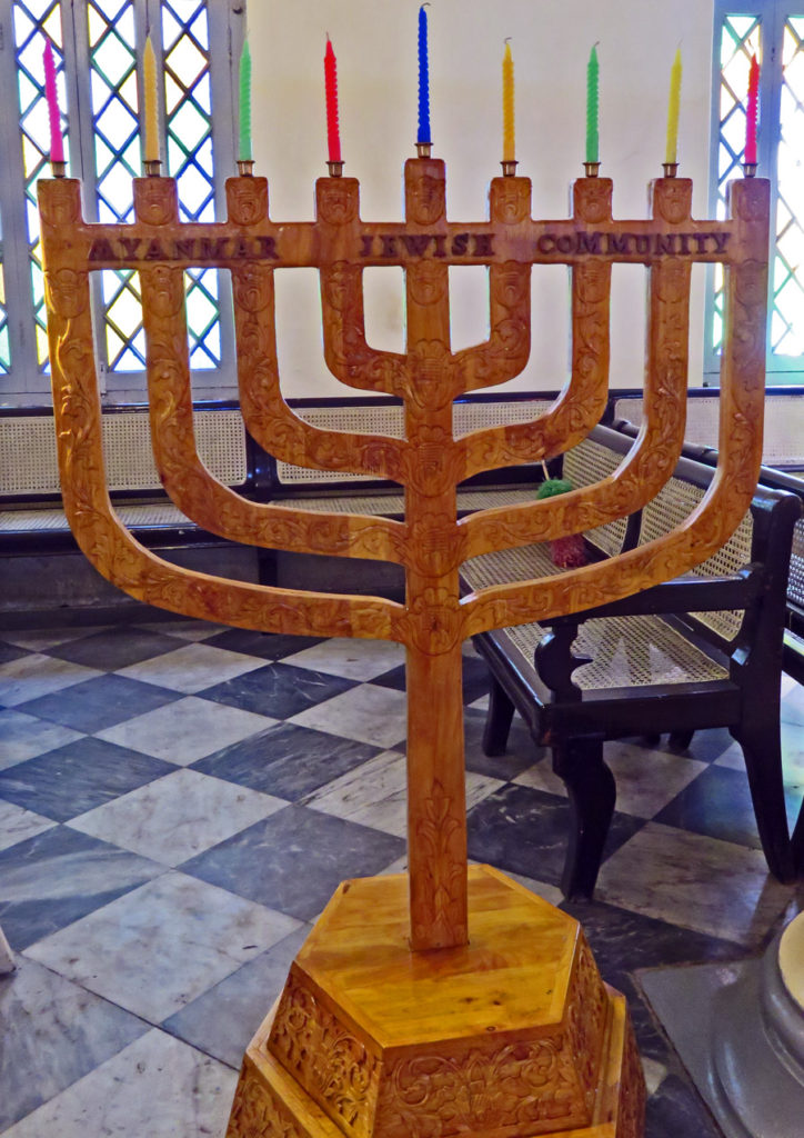 a carved wooden menorah is labelled Myanmar Jewish Community